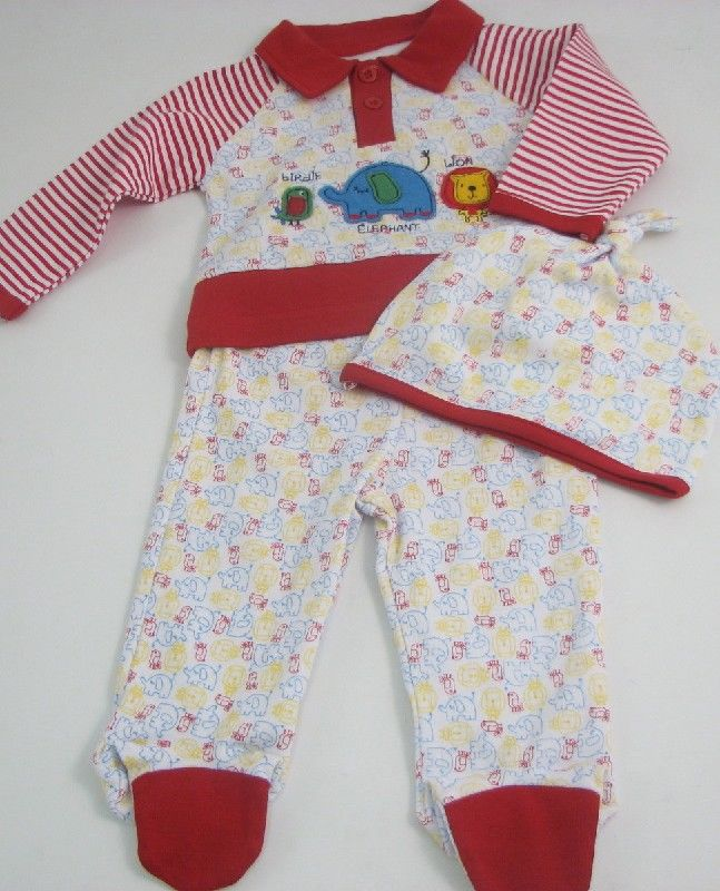 Baby 3pc Top And Trouser Set With Cap