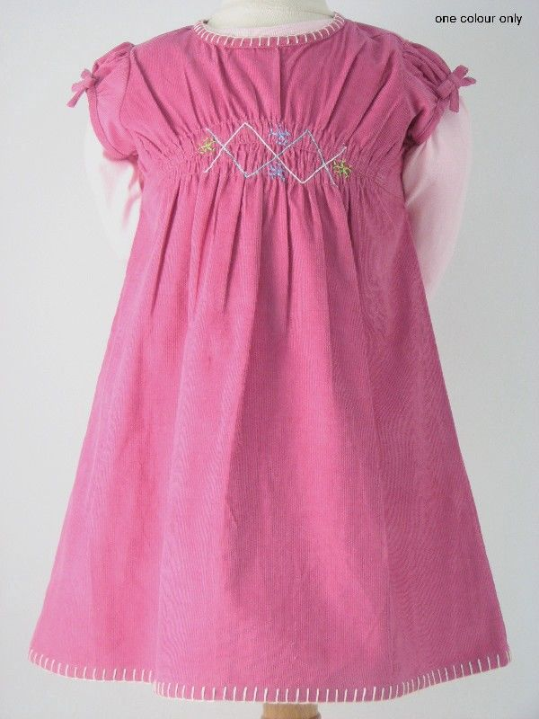 Girls Pink Corduroy Dress With Full Sleeve Tshirt