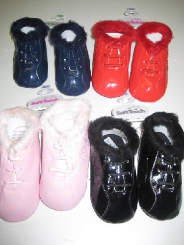 Baby Assorted Colour Shoes With Fur Trims