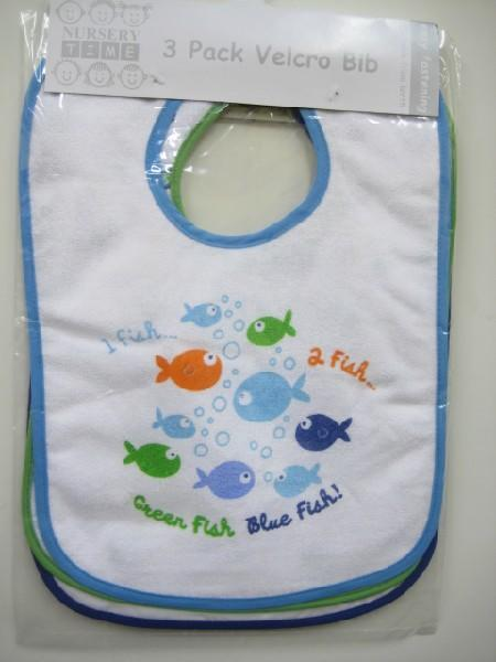 Baby Boys Assorted Velcro Bib Pack Fish Design