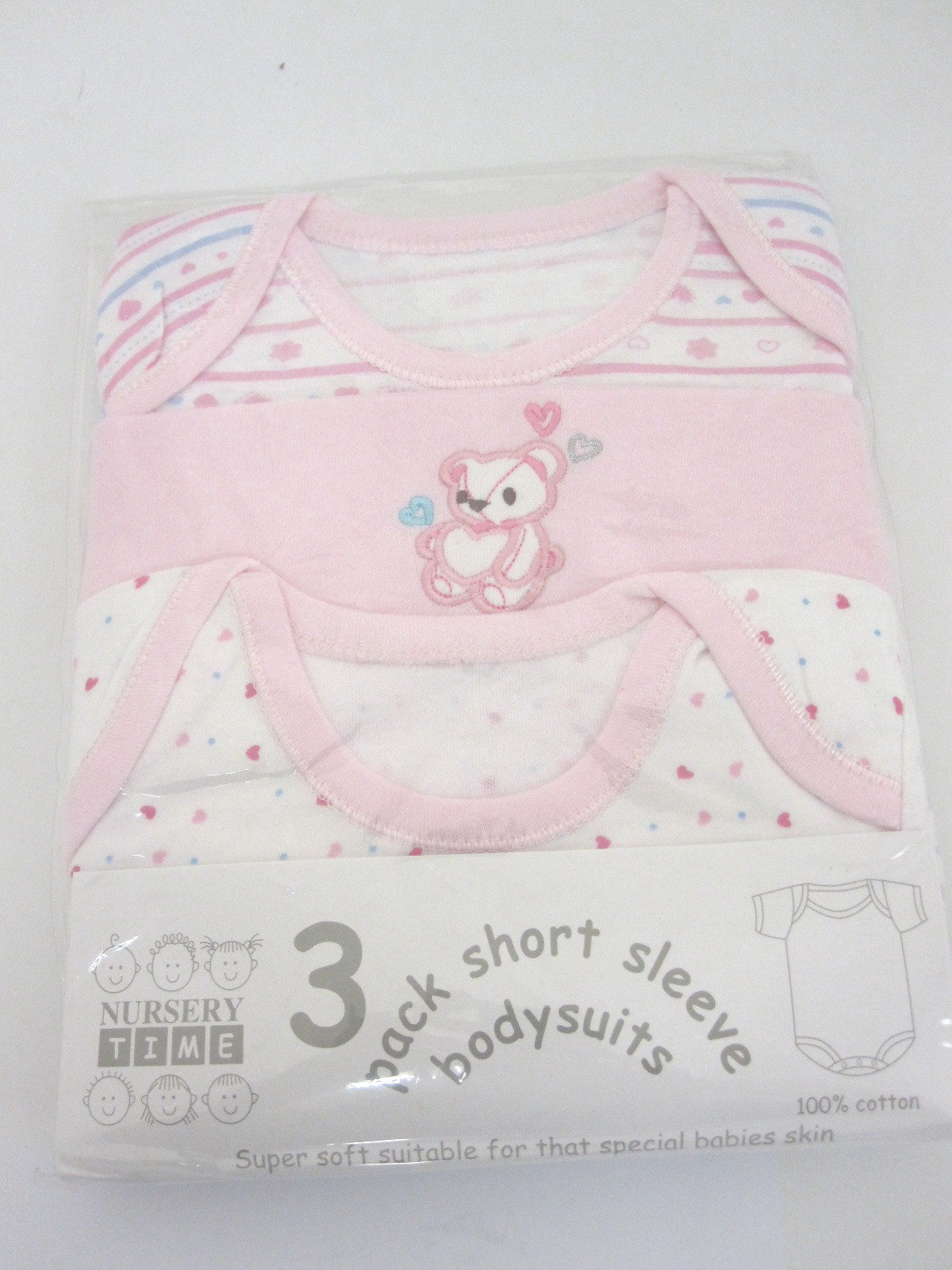 Baby 3 Pack Short Sleeve Bodysuits Pink