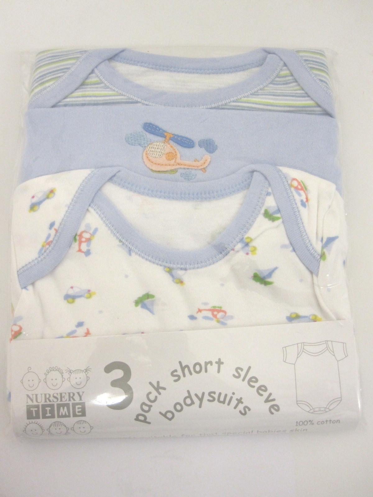 Baby 3 Pack Short Sleeve Bodysuits Blue