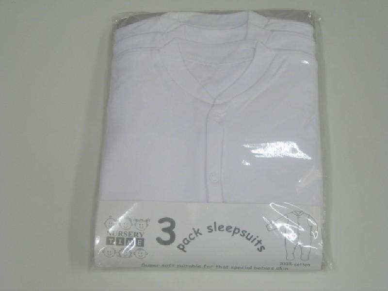 Baby White Sleepsuits 4 Pack