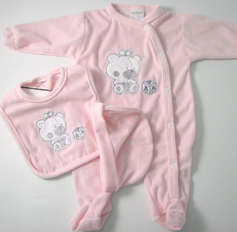 Baby Velour Sleepsuit With Cap And Bib