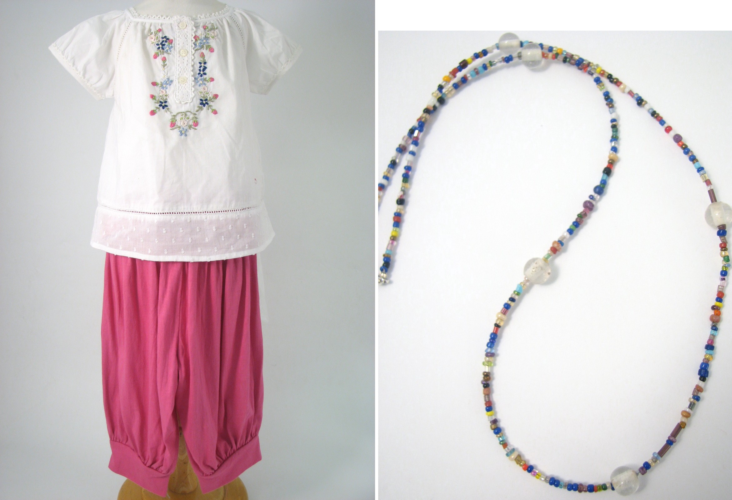 Girls Woven Top And Capri With Necklace