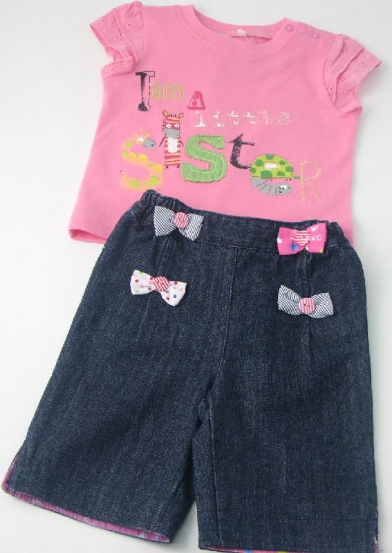 Baby Girls Tshirt And Denim Short Set With Bows And Buttons