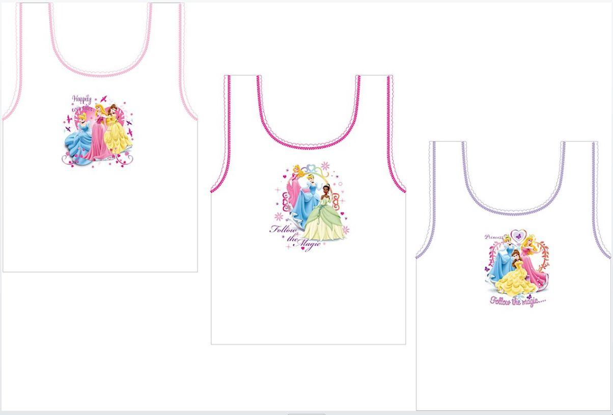 Girls Disney Princess 3pack Vest Set