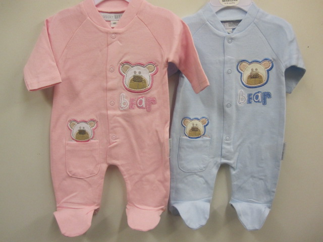 Baby Cotton Sleepsuit With Bear Applique
