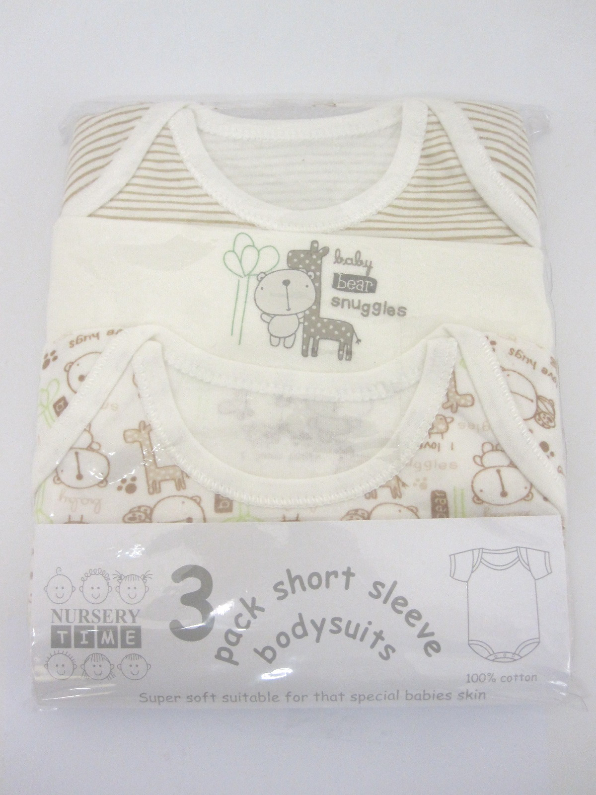 Baby 3 Pack Bodysuits Assorted Designs In Ecru