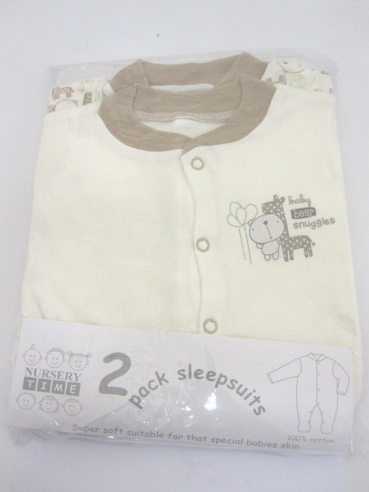 Baby 2 Pack Ecru Sleepsuits