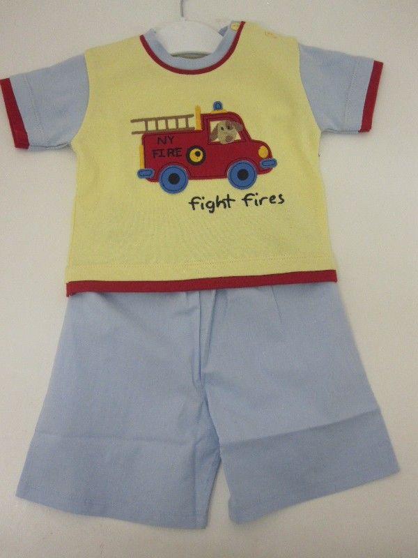 Baby Boys Short Set - Fire Engine