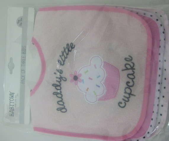 Baby Girls Assorted Bibs With Velcro - Cupcake