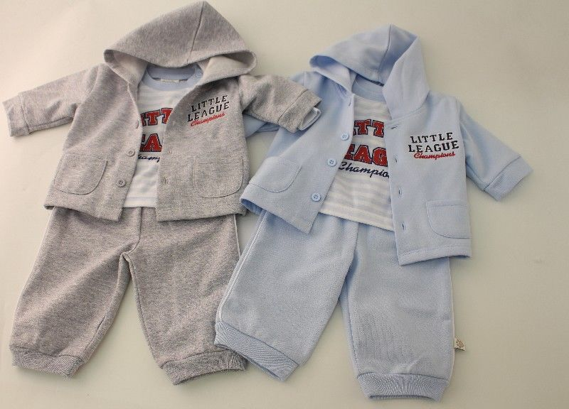 Baby Hooded Jacket Tshirt And Trouser Set Little League