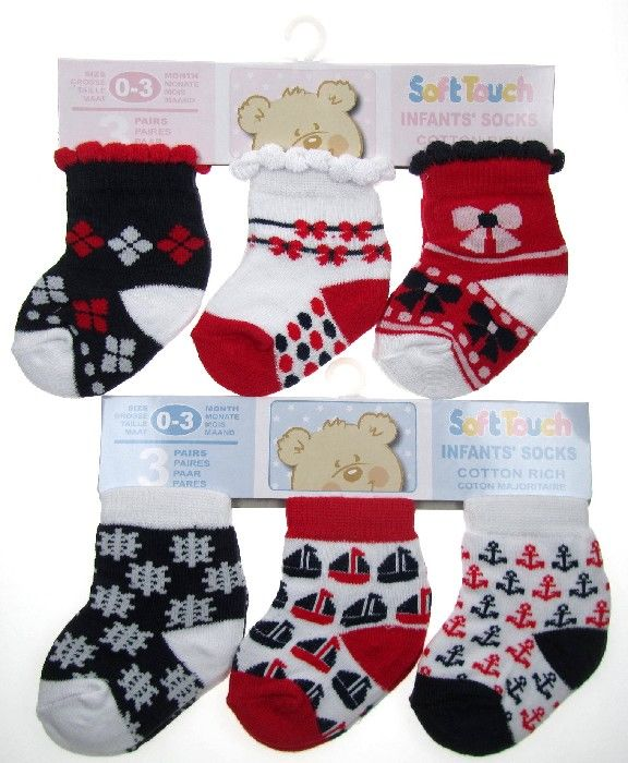 baby assorted design red navy socks line Wholesale