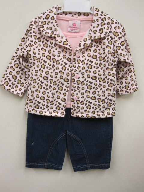 Baby Girls 3pc Set With Animal Print Jacket