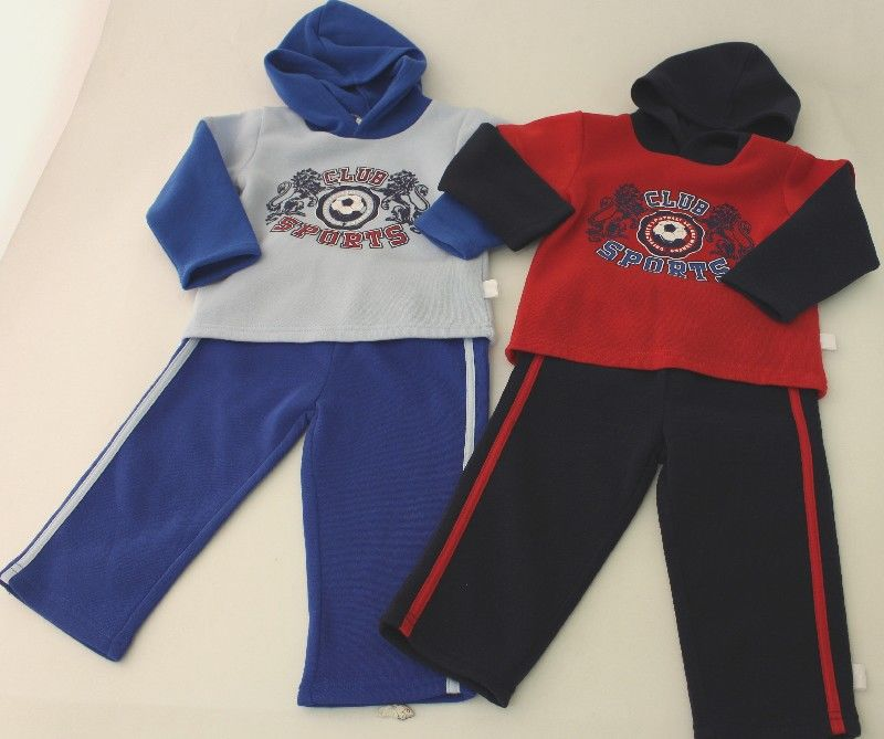 Baby Boys Hooded Jogset Sports Print