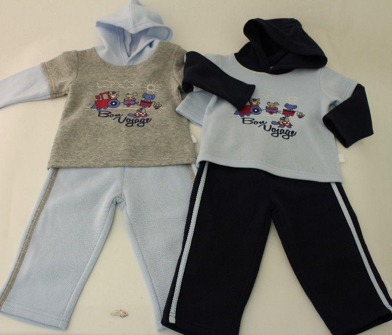 Baby Boys Hooded Jogset Bon Voyage Print