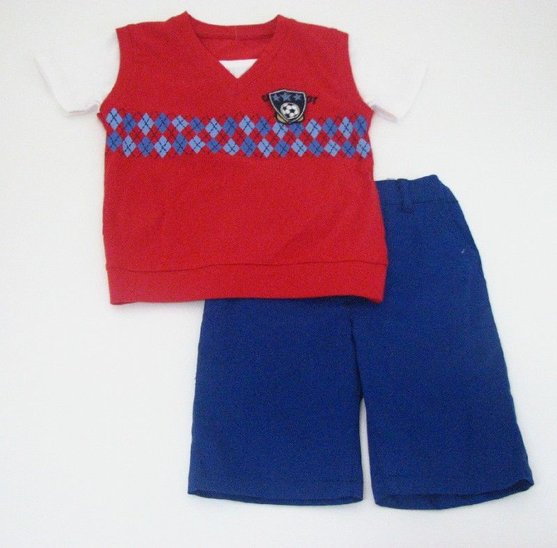Boys Vest Short Set Red