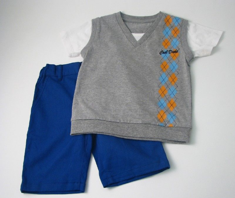 Boys Vest Short Set Grey