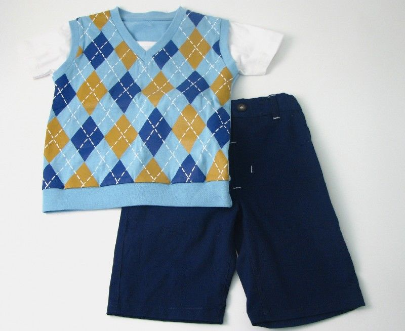Boys Vest Short Set Blue