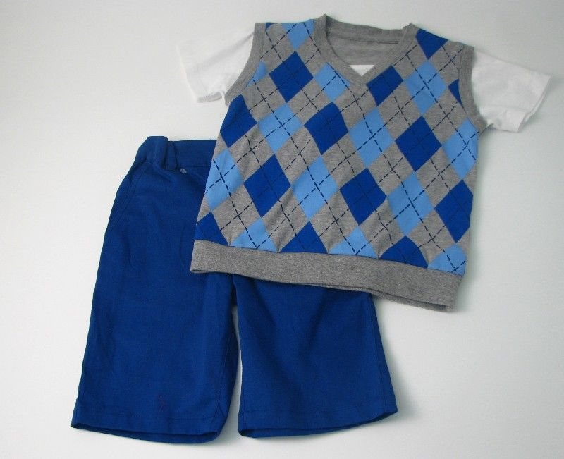 Boys Vest Short Set Grey Blue