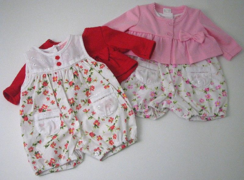 Baby Girls Romper With Cardigan