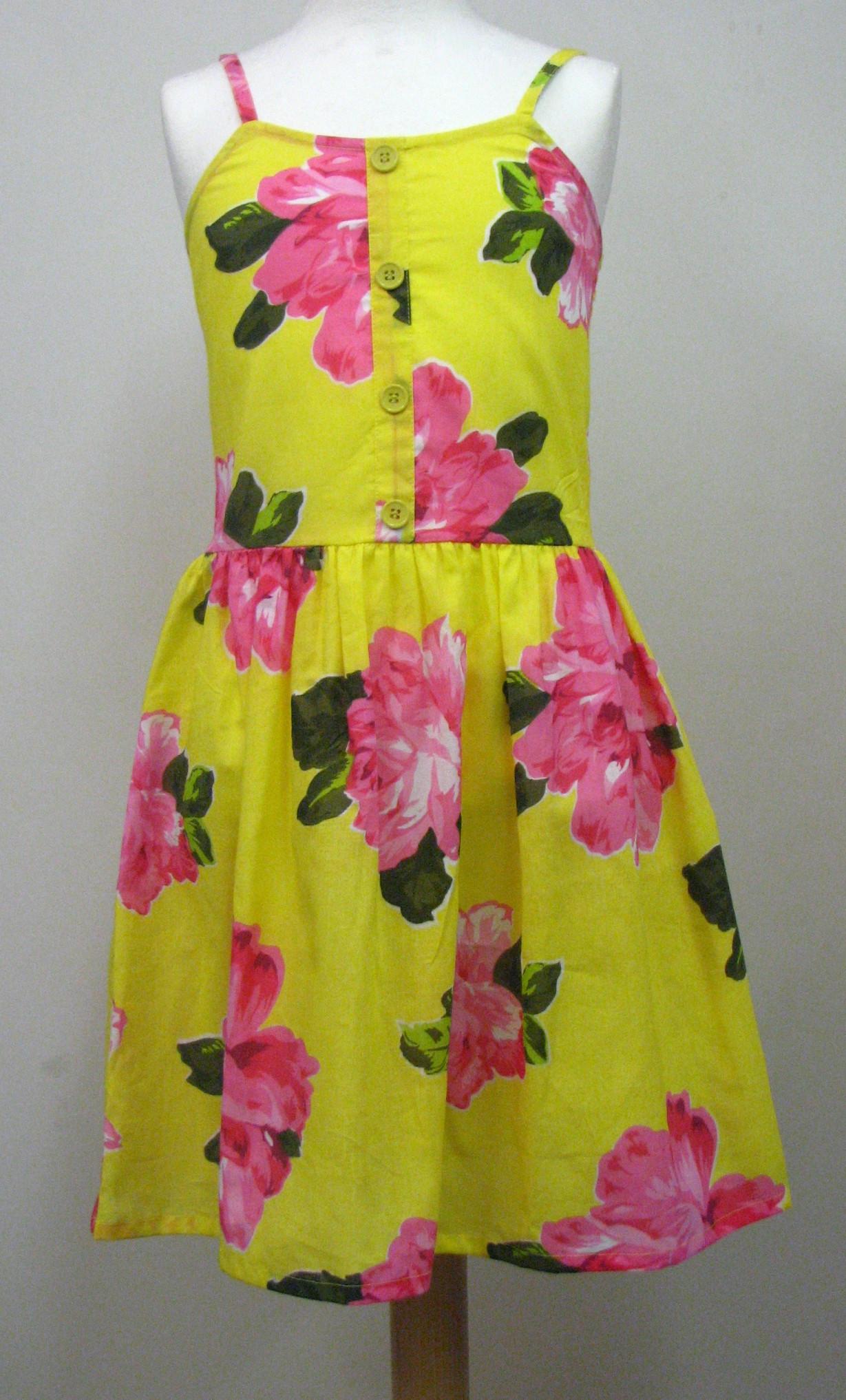 Girls Yellow Rose Print Dress