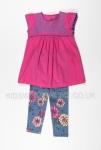 Girls Pink Tunic And Floral Legging Set