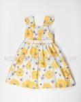 Girls Yellow Poppy Dress With Satin Bow