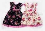 Girls Vintage Floral Print Dress With Net Hem