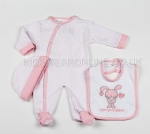 Baby 3pc Layette Set Pink Bunny And Hearts