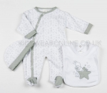 3 Pc Baby Layette Set White Little Star
