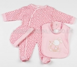 3 Pc Baby Layette Set Pink Bunny