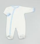 Baby Cotton Sleepsuit - White/Blue