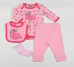 Baby 4pc Layette Gift Set - Bodysuit, Bib, Trouser And Mitts