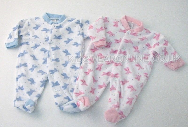 Baby Basic Velour All Over Bunny Print