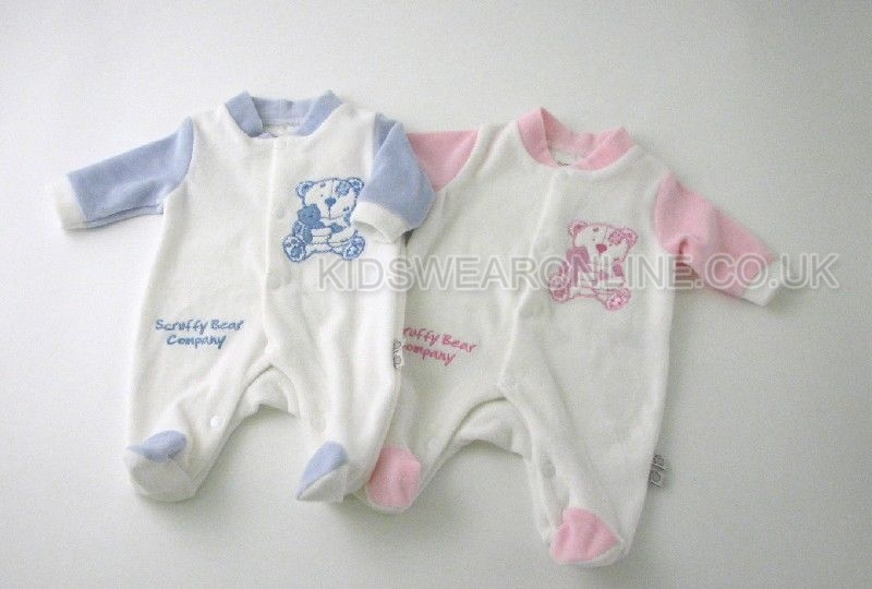 Tiny Baby Velour Sleepsuit Scruffy Bear Company