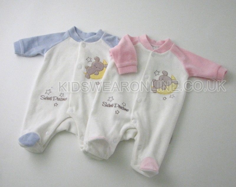 Tiny Baby Velour Sleepsuit Sweet Dreams
