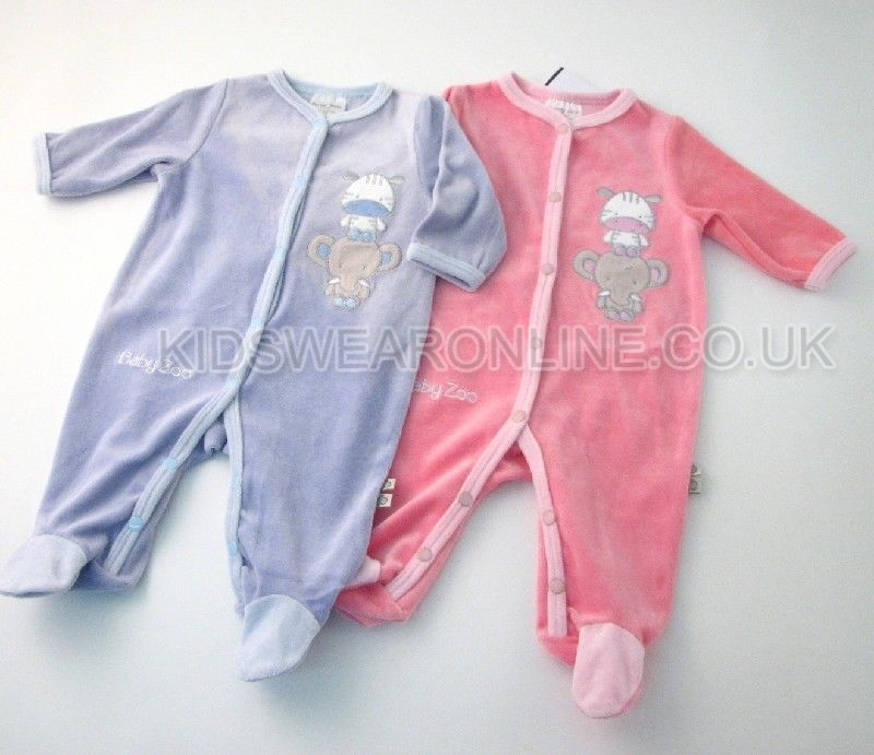 Baby Velour Sleepsuit Baby Zoo