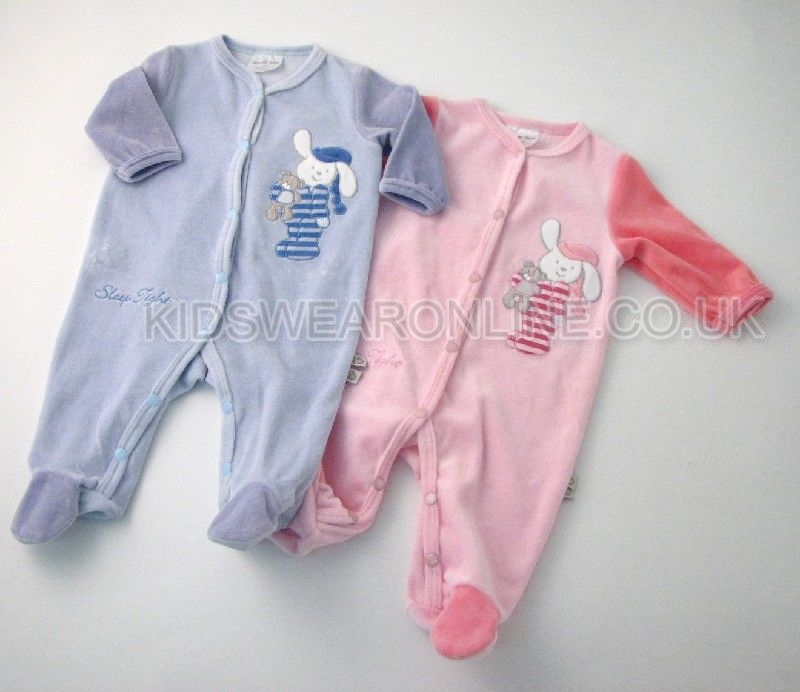 Baby Velour Sleepsuit Sleep Tight