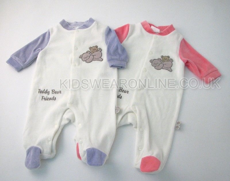 Baby Velour Sleepsuit Teddy Bear Freinds