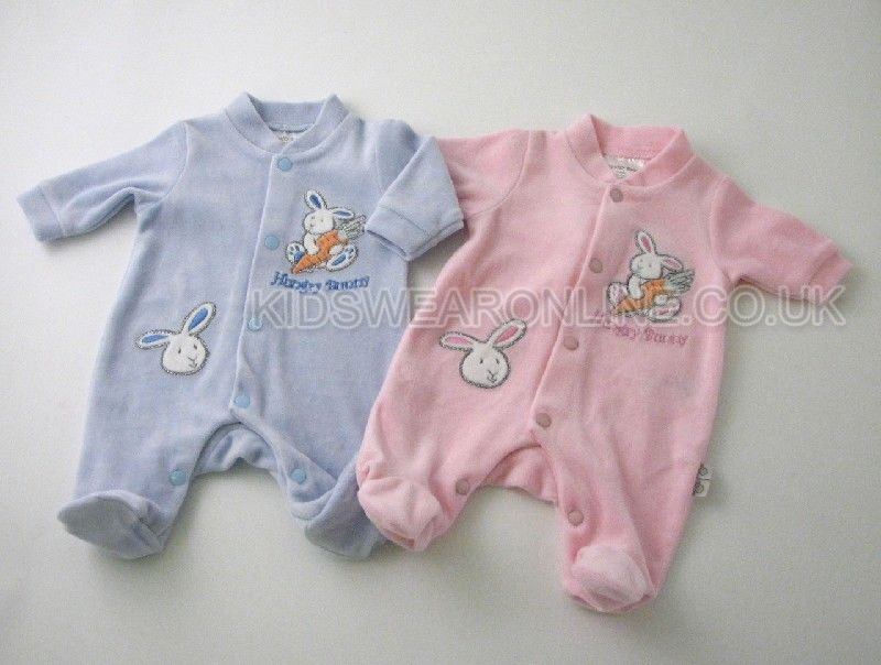 Tiny Baby Velour Sleepsuit Happy Bunny