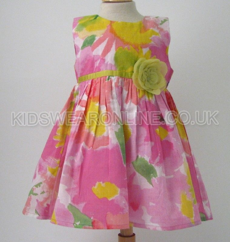 Baby Waterprint Dress With Flower At Waist