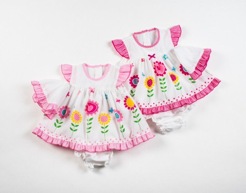 Baby 3pc Dress Set With Pant And Cap Flower Print