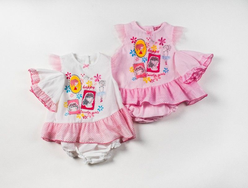 Baby 3pc Dress Set With Pant And Cap With Ballerina Print