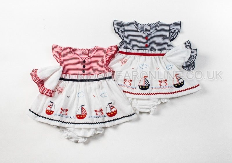 Baby 3pc Sailor Dress Set With Pant And Cap