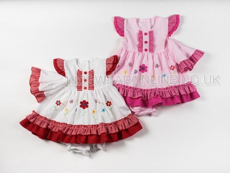 Baby 3pc Dress Set With Hat Pants And Double Frill