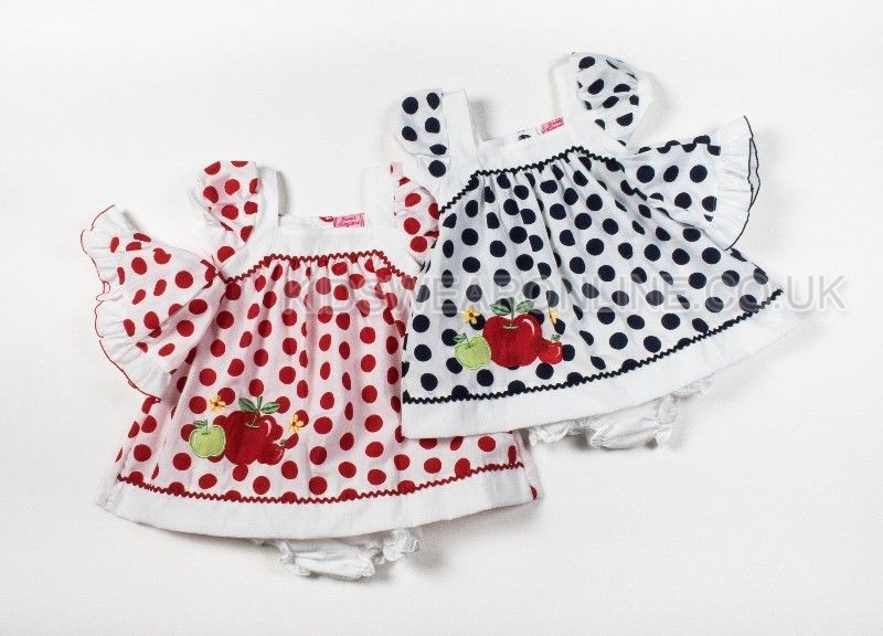 Baby 3pc Spotted Dress Set With Hat Pants Apple Embroidery