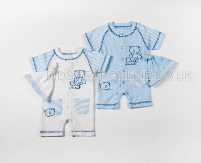 Tiny Baby Boy Romper With Bear Embroidery