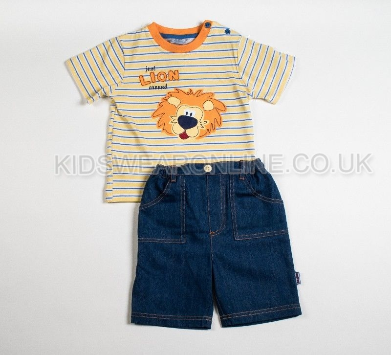 Boys Tshirt And Denim Short Set Lion